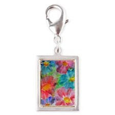 Flowers! Bright floral art! Silver Portrait Charm