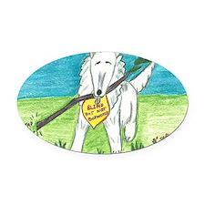 Blind Dog with Stick Oval Car Magnet