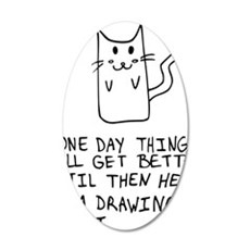 Here is the drawing of a cat 35x21 Oval Wall Decal
