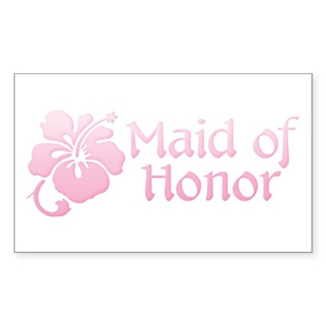 Hibiscus Maid of Honor Rectangle Sticker