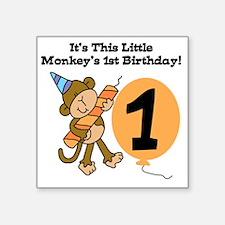 "Little Monkey 1st Birthday Square Sticker 3"" x 3"""