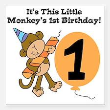 "Little Monkey 1st Birthd Square Car Magnet 3"" x 3"""
