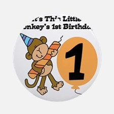 Little Monkey 1st Birthday Round Ornament