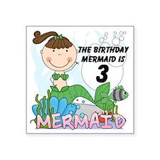 "Mermaid 3rd Birthday Square Sticker 3"" x 3"""