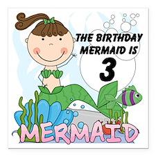 """Mermaid 3rd Birthday Square Car Magnet 3"""" x 3"""""""