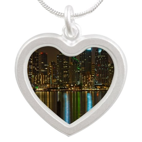 Full moon over San Diego Silver Heart Necklace