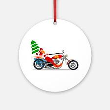 Biker Santa Ornament (Round)