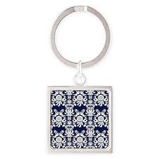Navy Blue Damask Square Keychain