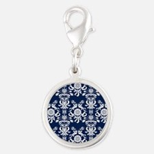 Navy Blue Damask Silver Round Charm