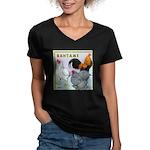 Bantam Chickens Women's V-Neck Dark T-Shirt