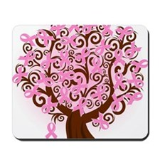 breast cancer pink ribbon tree Mousepad