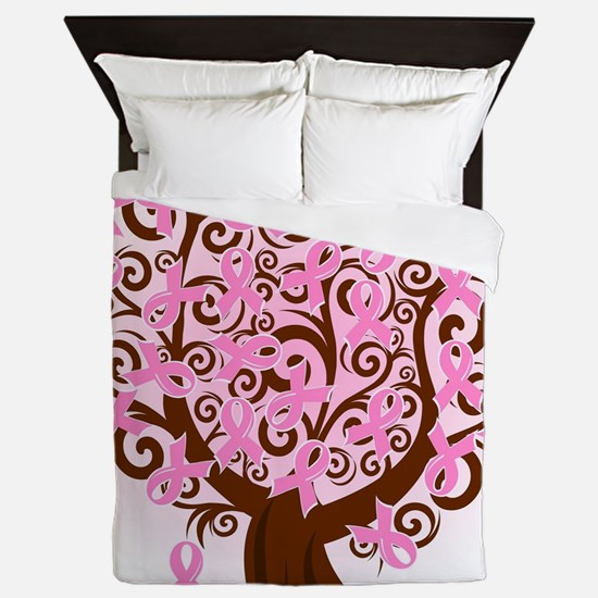 breast cancer pink ribbon tree Queen Duvet