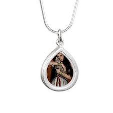 Ancient egypt calendar 2 Silver Teardrop Necklace