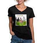 Cornish Trio Women's V-Neck Dark T-Shirt