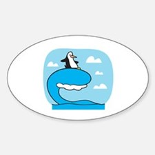 Silly Surfing Penguin Oval Decal