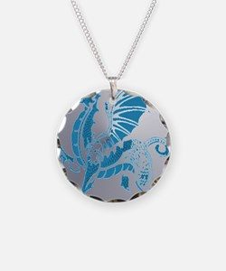 Blue And Silver Dragon Necklace