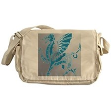 Blue And Silver Dragon Messenger Bag