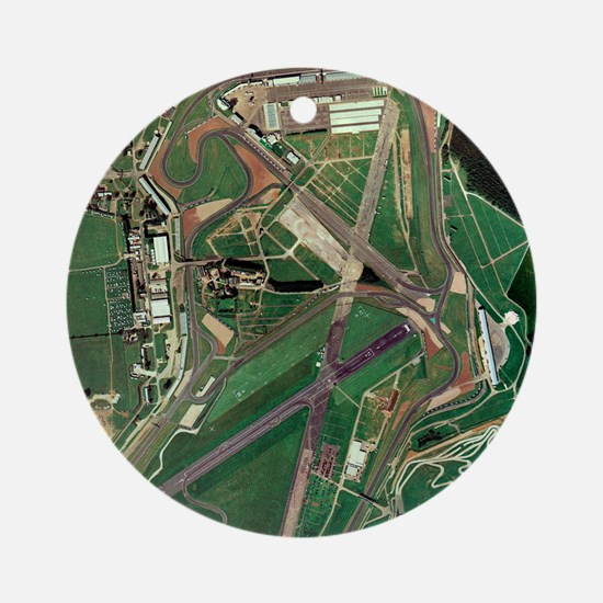 Silverstone race track, aerial imag Round Ornament