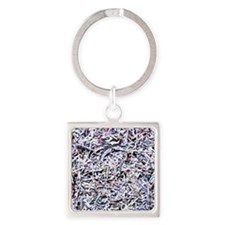 Shredded documents Square Keychain