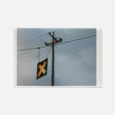Telephone Pole and Train Crossing Rectangle Magnet