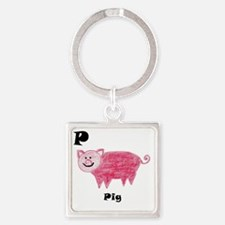 P is for Pig Square Keychain