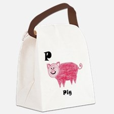P is for Pig Canvas Lunch Bag