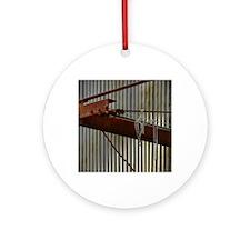 Mardi Gras Beads on Rusty Object Round Ornament