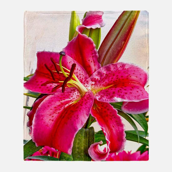 Bright Red Lily Throw Blanket