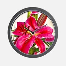 Bright Red Lily Wall Clock