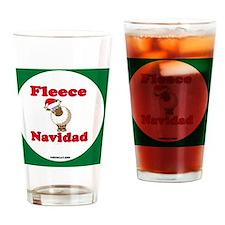 FleeceOrnSnowFlakeOrnBorder-a Drinking Glass
