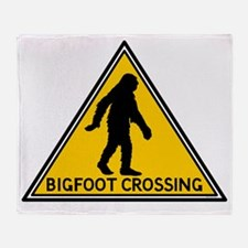 Bigfoot Crossing Sign Throw Blanket