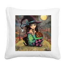 Halloween Hill Square Canvas Pillow
