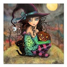 """Halloween Hill Square Car Magnet 3"""" x 3"""""""