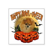 "Happy Halloween Pomeranian Square Sticker 3"" x 3"""