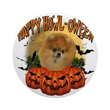 Happy Halloween Pomeranian Round Ornament