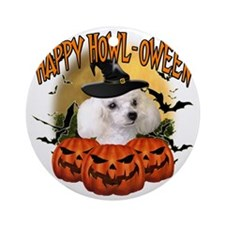 Happy Halloween Poodle Round Ornament