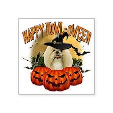 "Happy Halloween Shih Tzu Square Sticker 3"" x 3"""