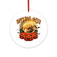 Happy Halloween Pekingnese Round Ornament