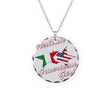 italian american girl(blk) Necklace Circle Charm