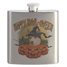 Happy Halloween Husky Flask