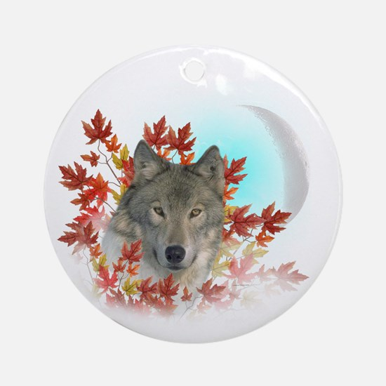 Wolf Harvest Moon Round Ornament