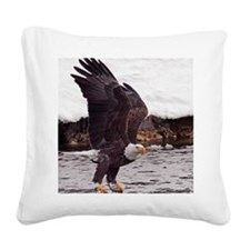 Eagle, Fish in Talons Square Canvas Pillow