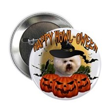 "Happy Halloween Bichon Frise 2.25"" Button"