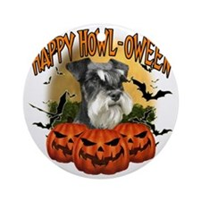 Happy Halloween Miniature Schnauzer Round Ornament