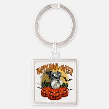 Happy Halloween Miniature Schnauze Square Keychain