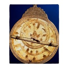 Brass astrolabe from the middle ages Throw Blanket