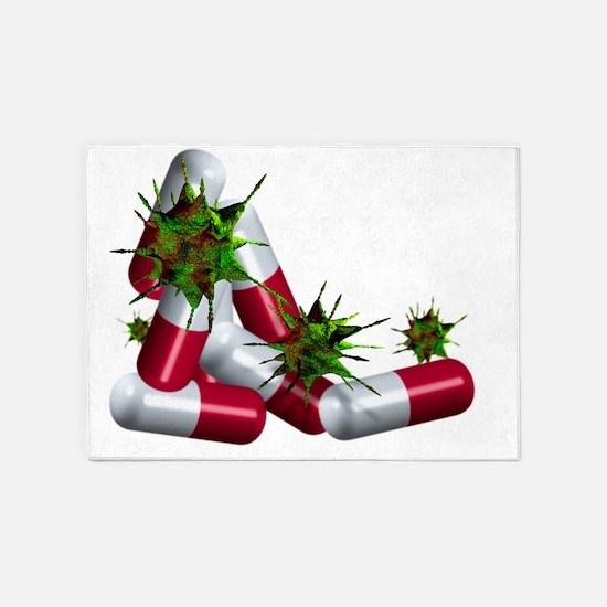 Antibiotic pills and microbes, artw 5'x7'Area Rug