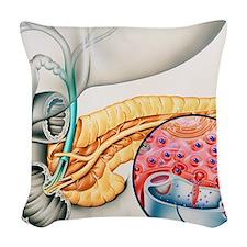 Artwork of the pancreas showin Woven Throw Pillow