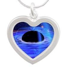Energy-releasing black hole Silver Heart Necklace