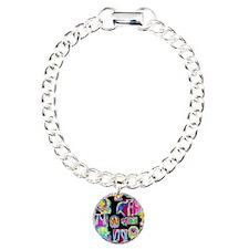 Assortment of coloured X Charm Bracelet, One Charm